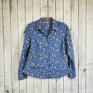 Boden Casual Button Up Bird Graphic Blouse 6 P